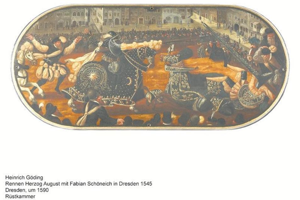 Nach dem Gemälde von Heinrich Göding d. Ä. wurde die obige Turnierszene nachgestaltet.Foto: Staatliche Kunstsammlungen