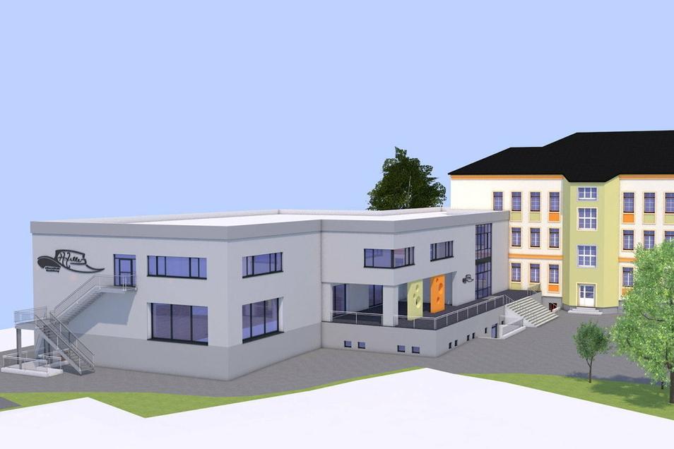 Auch das Gebäude der neuen Turnhalle (links) wird geschossmäßig dem Altbau angepasst.