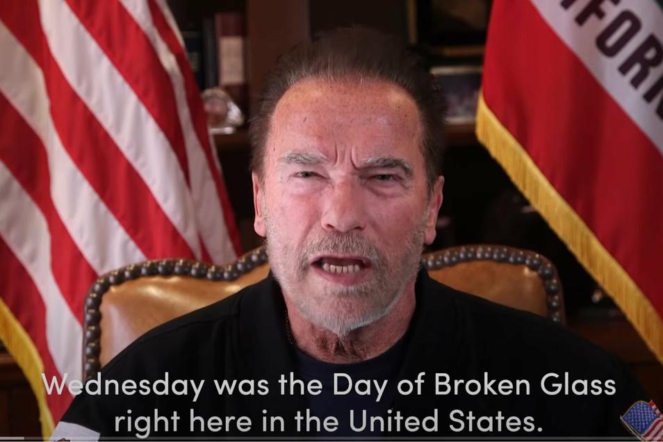 Arnold Schwarzenegger, ehemaliger republikanischer Gouverneur von Kalifornien, richtet sich via Twitter an die amerikanische Bevölkerung. Er vergleicht den Mob, der das US-Kapitol stürmte, mit den Nazis.