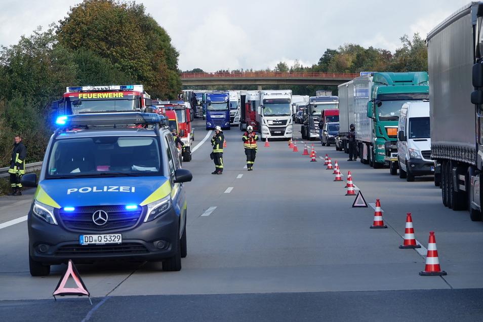 Die Autobahn in Richtung Chemnitz musste zeitweise gesperrt werden.