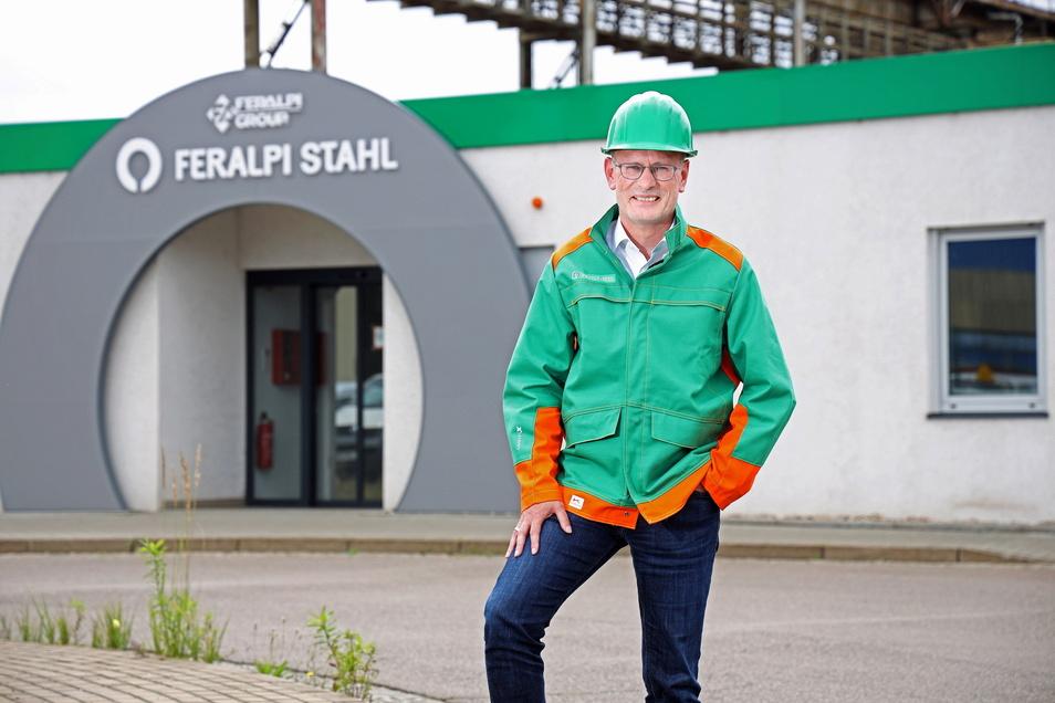 Uwe Reinecke ist seit Mai Werksdirektor bei Feralpi Stahl in Riesa. Der 56-Jährige stammt aus Salzgitter und war zuvor schon zehn Jahre bei den Schmiedewerken in Gröditz tätig.