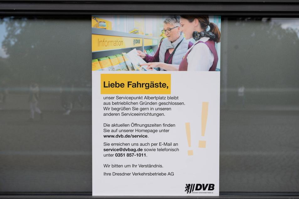 Viel mehr, als dass die Käseglocke erst einmal geschlossen bleibt, verraten die DVB nicht auf diesem Aushang.