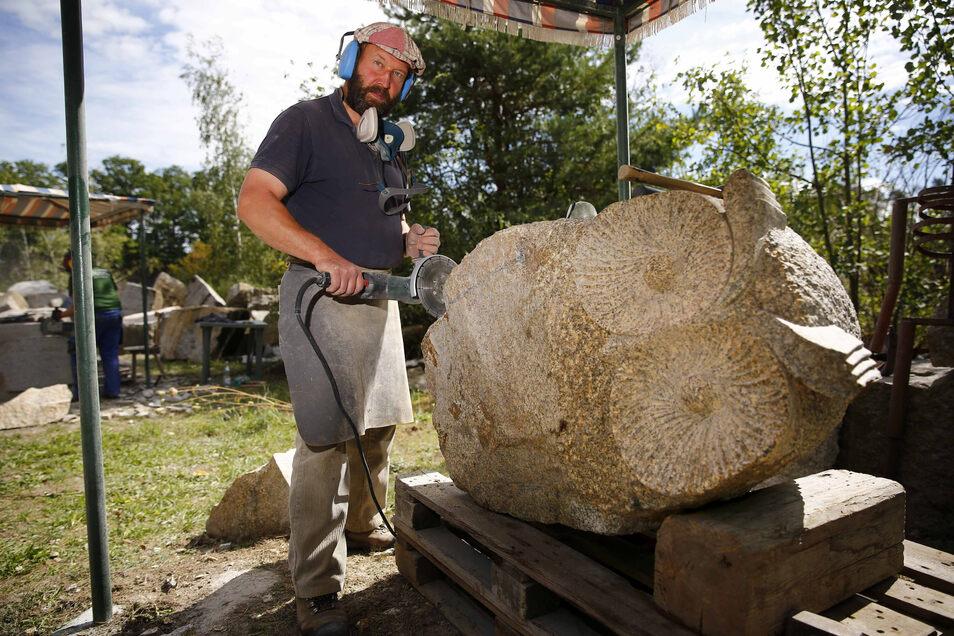 Bildhauer Bernhard Männel aus Dresden, der auch bei den diesjährigen Bildhauertagen in Miltitz dabei war, wird das neue Projekt mit betreuen.