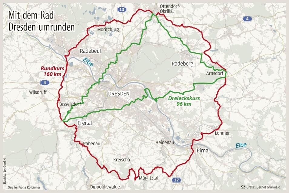 Der 160 Kilometer lange Rundkurs ist in allen Punkten rund 15 Kilometer von Striesen entfernt. Das rechtwinklige Dreieck in der Mitte zeigt den Satz des Thales.