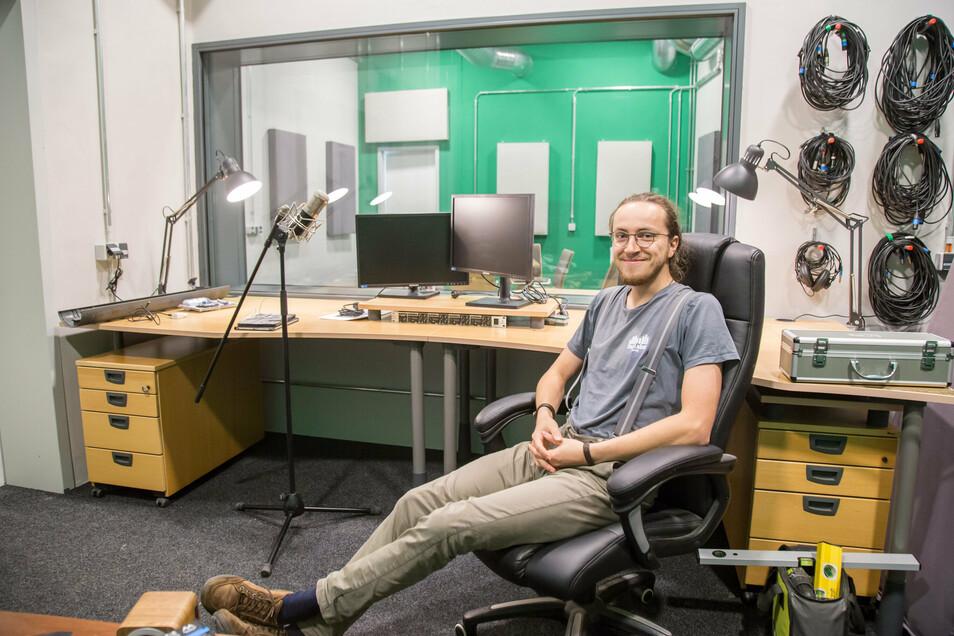 Florian Meyer hat mit seinem Verein Ton.Labor Görlitz ein Aufnahmestudio für lokale Musiker im neuen Zentrum eingerichtet.