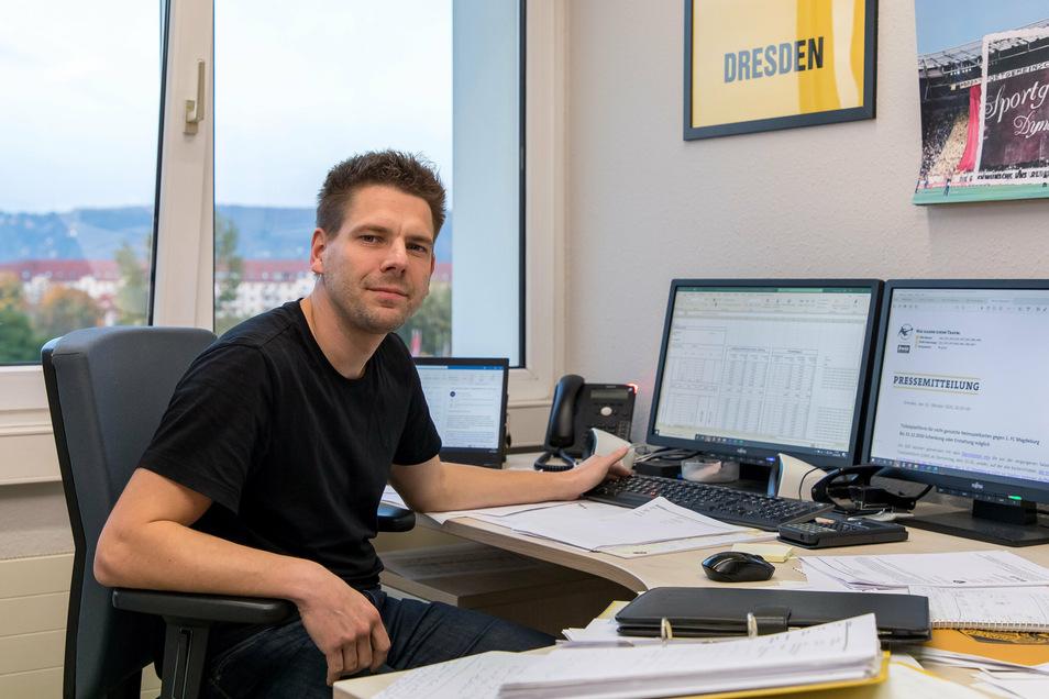 Enrico Kabus bleibt derzeit wenig Zeit für die Familie. Als Interimsgeschäftsführer muss der 36-Jährige Lösungen finden, wie Dynamo die Einnahmeverluste wegen der Corona-Krise einigermaßen ausgleichen kann.