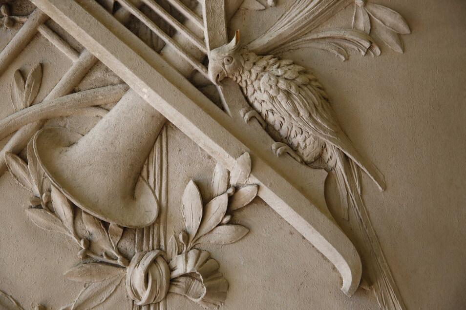 Mit Schnitzereien verziert ist ein Fund vom Dachboden des Schlosses. Es sind Fensterfüllungen aus dem Barocksaal, die jetzt den Gartensaal schmücken..