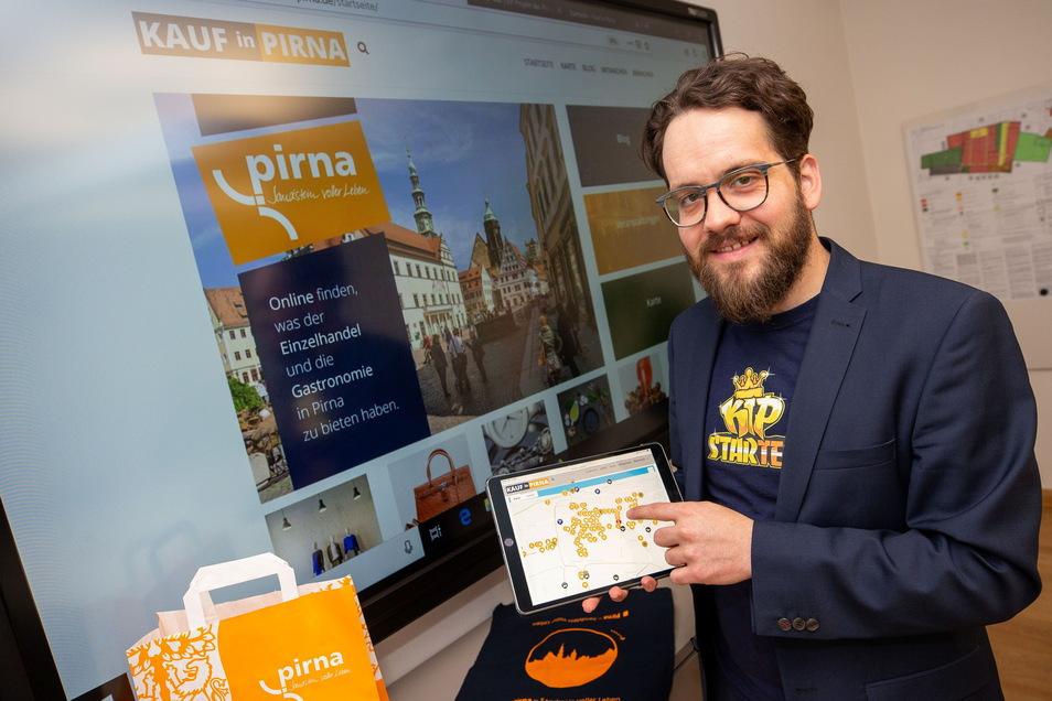 Stadtmarketing-Projektleiter Robert Böhme, hier bei der Präsentation des digitalen Schaufensters für Pirna: Wir haben jetzt sogar eine Vorreiterrolle.