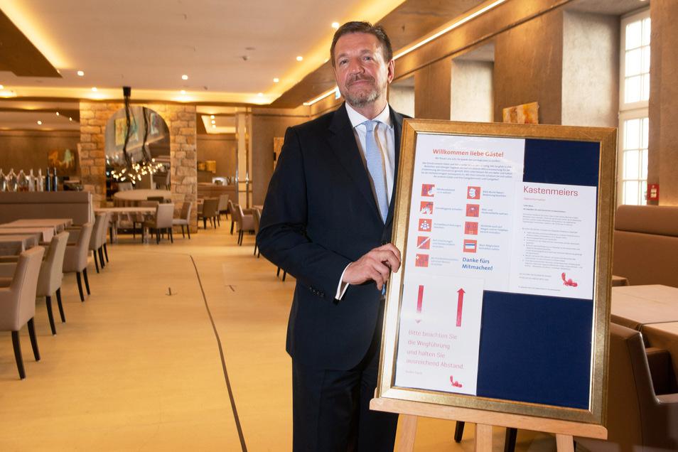 Die Hygieneregeln machen den Dresdner Hotels zu schaffen. Auch im Kempinski wären sie bei voller Auslastung kaum umsetz, sagt Generaldirektor Jens Marten Schwass.