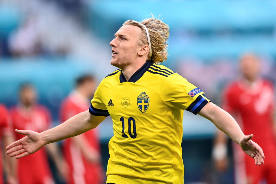 Schwedens Emil Forsberg bejubelt sein Tor zum 1:0. Es war das zweitschnellste in der EM-Geschichte.