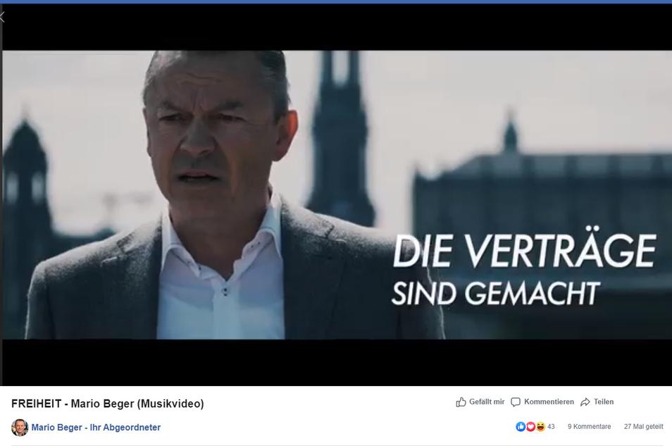 Am Freitag war das Video, in dem Mario Beger den Song Freiheit sang, noch online.