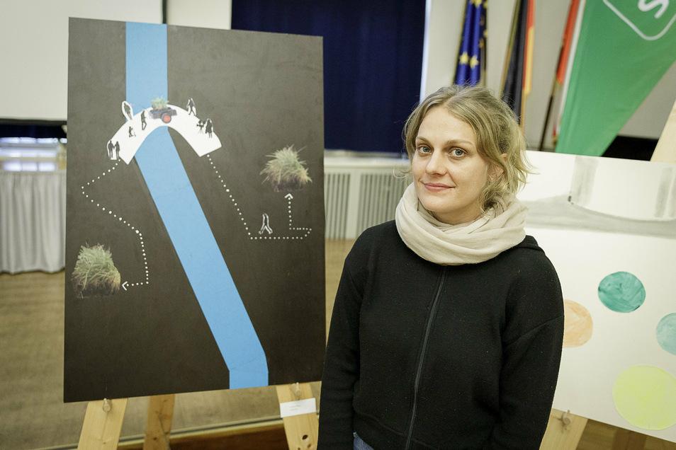Veronika Pfaffinger:Ein Stück Grassoden auf einem Handwagen soll bei einem Spaziergang nach Polen gebracht werden und ein Stück polnischer Boden nach Görlitz. Das soll als Filmdokumentation festgehalten und auf beiden Seiten gezeigt werden.