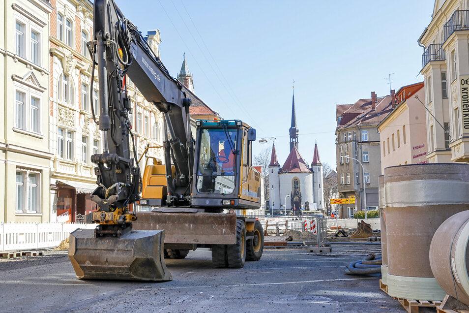 Nicht nur die Osteg-Baustelle auf der Äußeren Weberstraße in Zittau ruht derzeit.