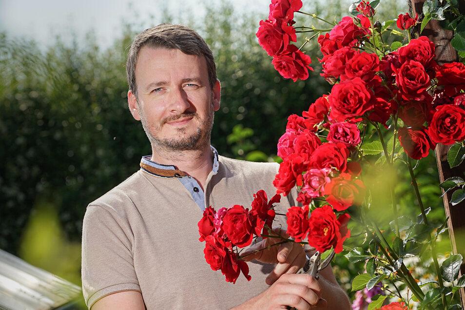 Stefan Michalk hat die Faszination des Gärtnerns entdeckt. Rosen gehören für ihn in seiner Parzelle Nummer 94 im Kleingartenverein in Doberschau bei Bautzen zum Muss. Er setzt sich für ökologisches, naturnahes Gärtnern ein – zum Beispiel im Verein zur Erh