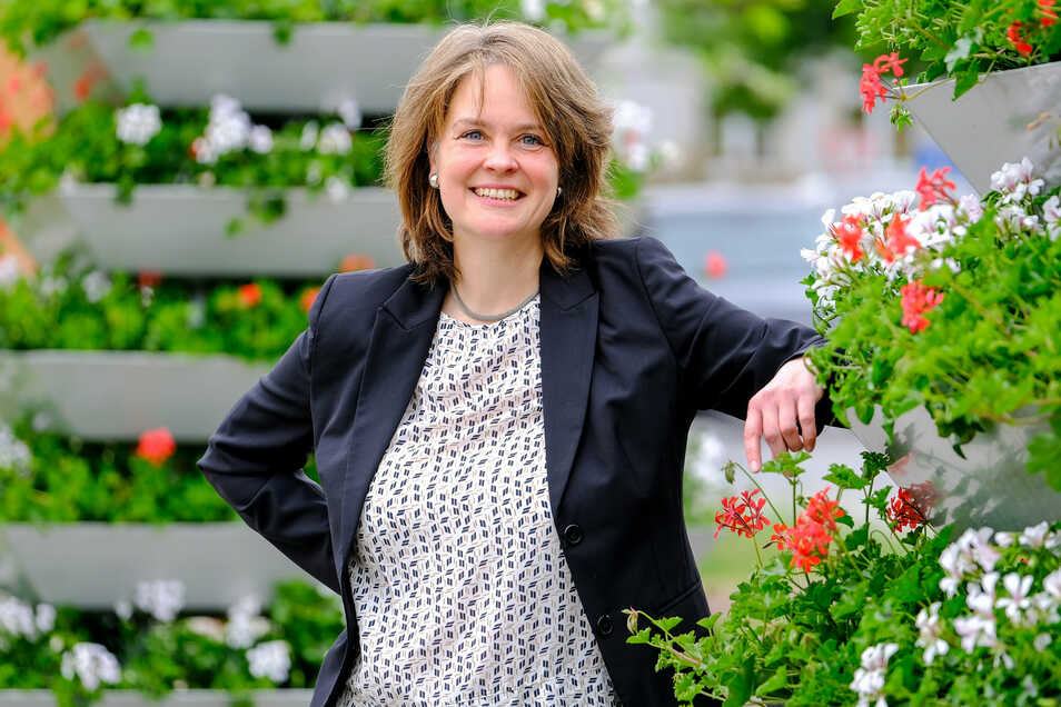 Kann sich beim Wahlkampf auf die Unterstützung von drei Parteien verlassen. Elke Siebert (Grüne) möchte sich am 11. Oktober gegen zwei Männer aus CDU und AfD als Meißner Landrätin durchsetzen.