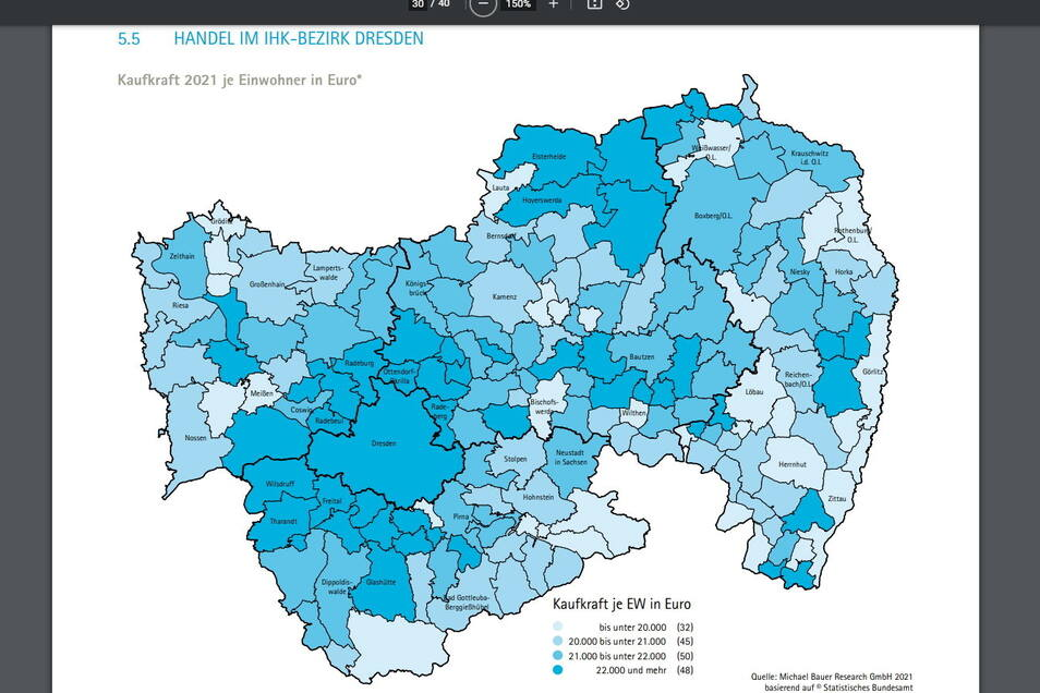 Zahlenspiegel der IHK Dresden zum Thema Kaufkraft je Einwohner in Euro. Die Daten sind aus dem Jahr 2021.