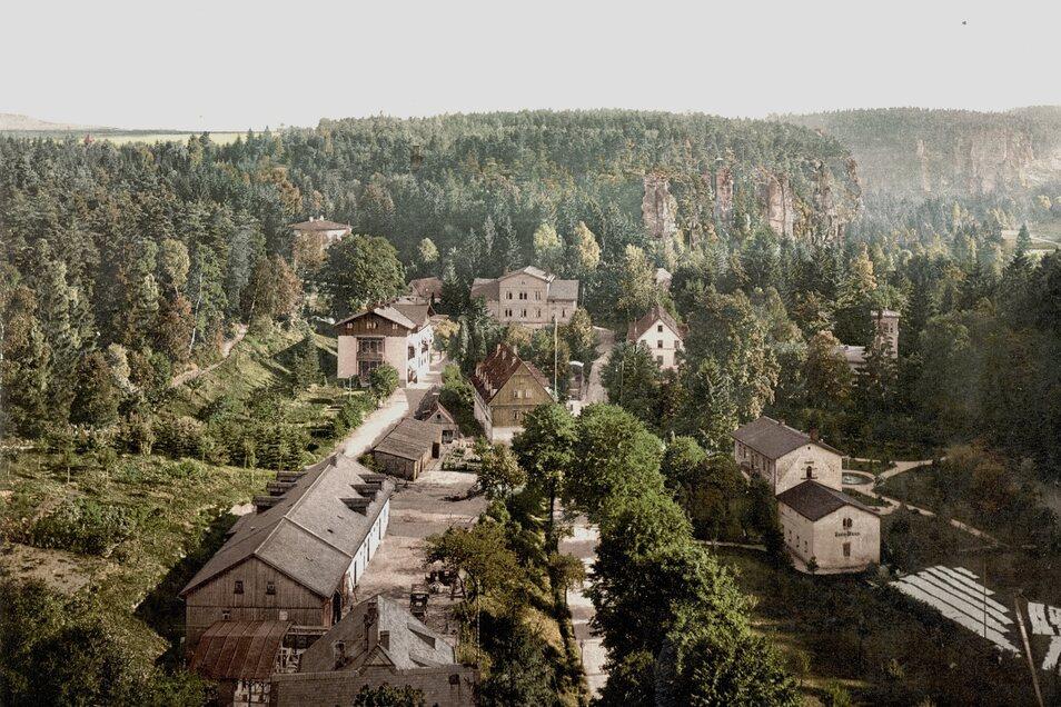 Um 1900 gehörten zur Schweizermühle mehrere Gebäude wie das markante Kurhaus (im Foto links, hinten Mitte).