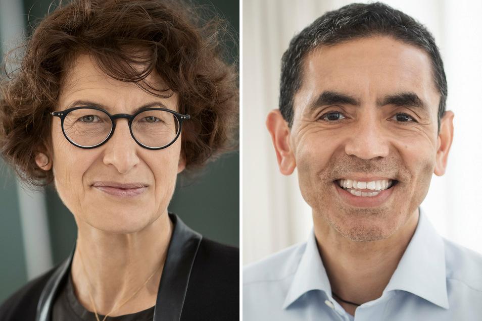 Ugur Sahin (r), Vorstandsvorsitzender des Biotechnologie-Unternehmens Biontech, und seine Frau Özlem Türeci, medizinische Geschäftsführerin von Biontech.