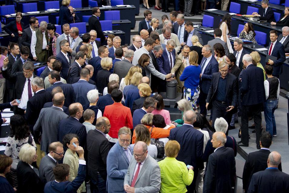 Mitglieder des Deutschen Bundestages stimmen am 7. Juni 2019 im Plenum im Bundestag zum Asyl- und Aufenthaltsrecht ab.