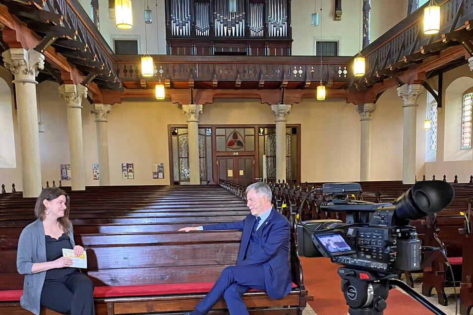 Dabei durfte Michaela Stahl auch mit Freitals Oberbürgermeister Uwe Rumberg ins Gespräch kommen.