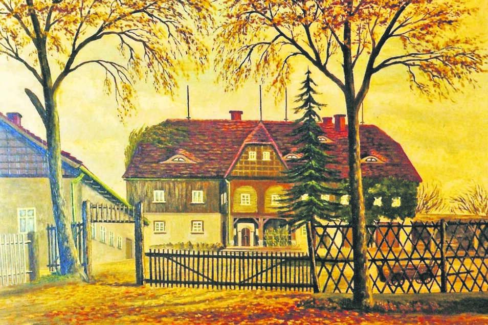 Das Koenneritzgut, gemalt vom Leutersdorfer E. Rösler 1950. Koenneritz hatte das 1850 von F. W. A. Schöbel mit Blockstube und großem Laubenvorbau errichtete Haus 1860 erworben. Das Nebengebäude links war einst Stall. ist heute unbewohnt.