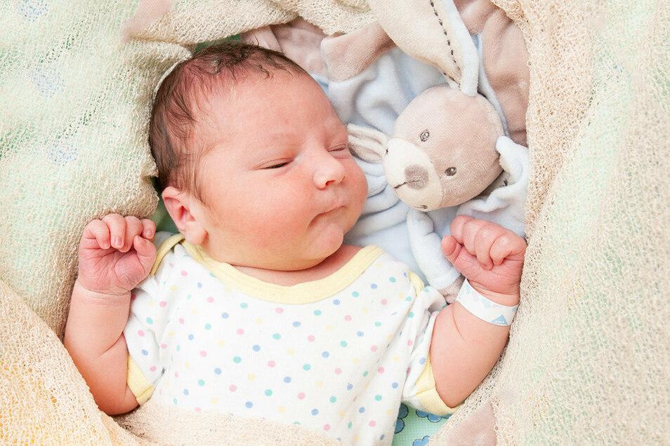 Luis Bardoux, geboren am 29. Juli, Geburtsort: Universitätsklinikum Dresden, Gewicht: 4.860 Gramm, Größe: 57 Zentimeter, Eltern: Sara Bardoux und Merlin Klameth, Wohnort: Freital