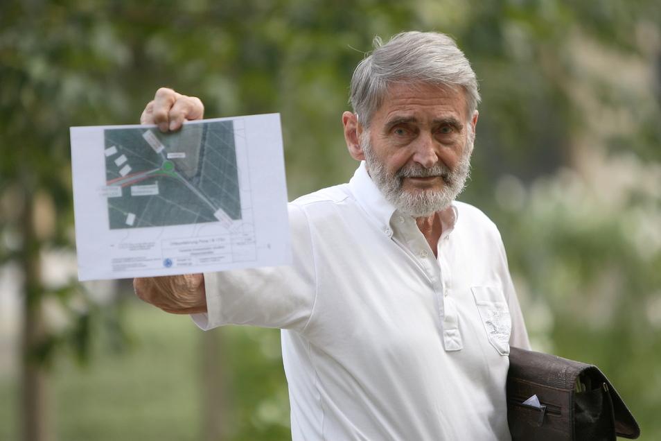 """Gottfried Gäbel, Gründer der Bürgerinitiative """"Ampel no - Kreisel go"""": """"Auf gar keinen Fall darf die Ampel gebaut werden."""""""
