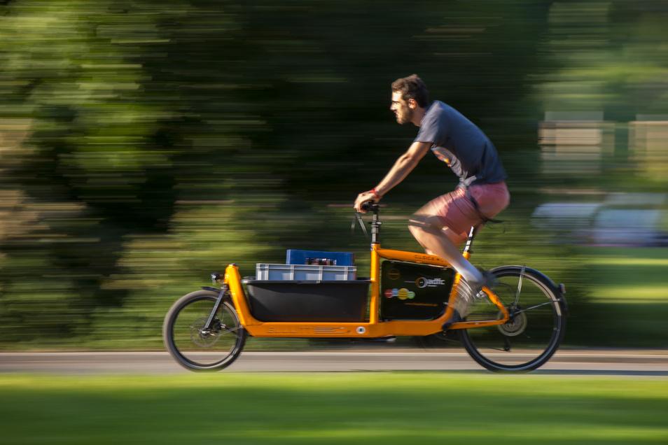 Lastenräder wie dieses werden in Dresden kostenlos verliehen. Mittlerweile gibt es neun.