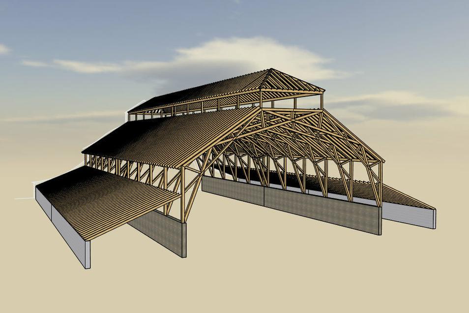 So sieht die hölzerne Dachkonstruktion aus, die die neue Turnhalle krönen soll. In dieser Art sind auch die großen Scheunen gebaut, die es auf den Dörfern noch gibt. Die Wände sind hier nur schematisch dargestellt.