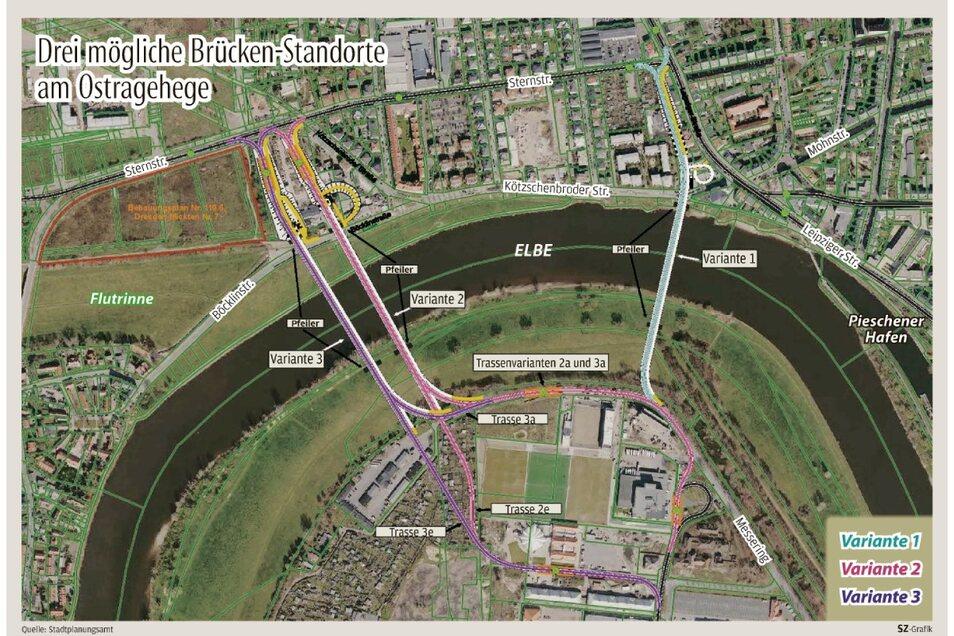 Die Karte zeigt, welche Brückenstandorte untersucht wurden. Nur einer davon hat wirklich eine Chance.