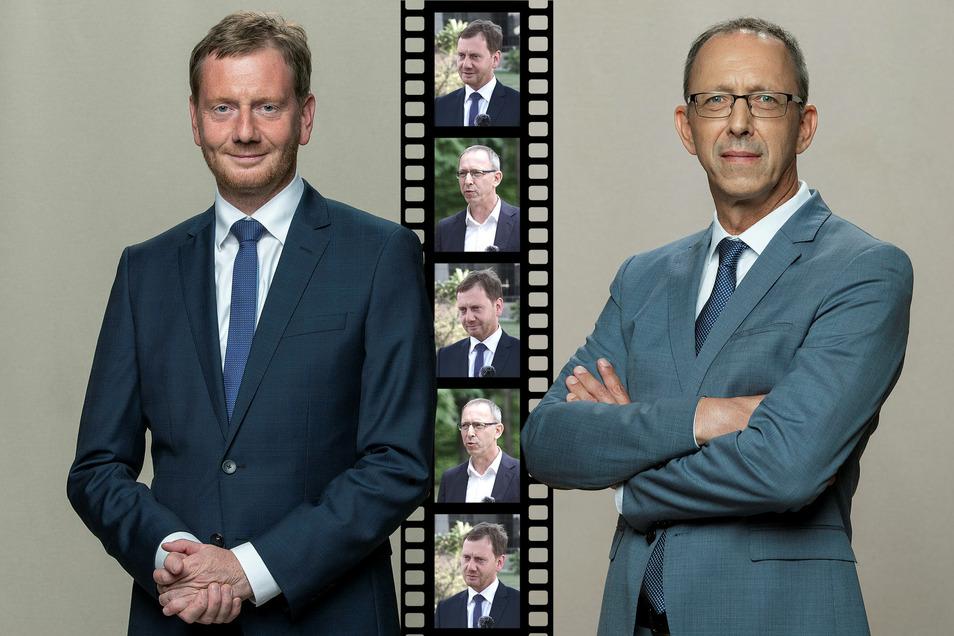Michael Kretschmer (CDU) und Jörg Urban (AfD).