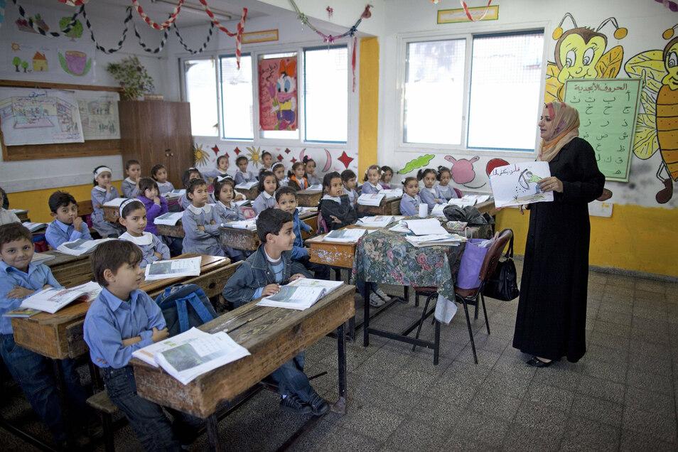 Unterricht in einer Grundschule im Gaza Stadt.