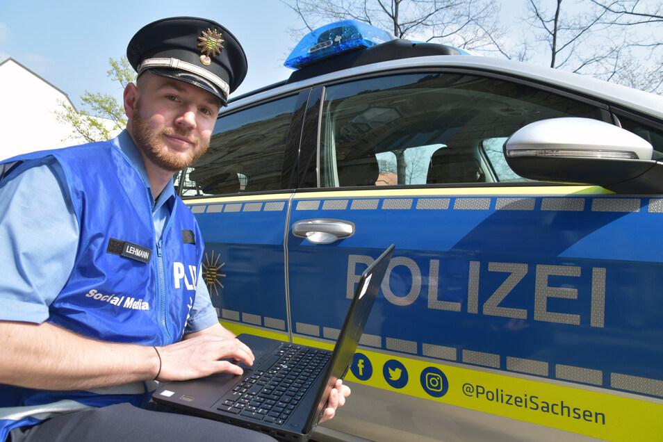 Polizeikommissar Christian Lehmann gehört seit Anfang 2018 zum Social-Media-Team der sächsischen Polizei.