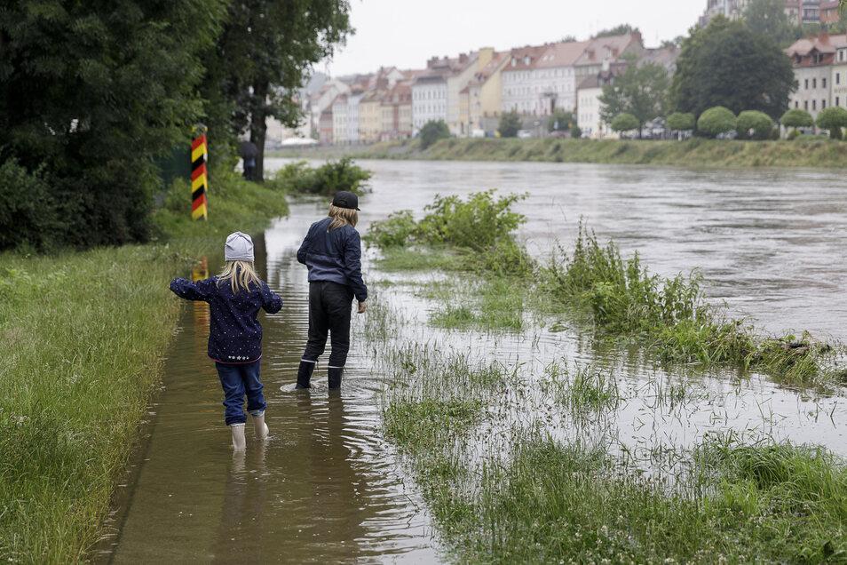 An einigen Stellen im Stadtgebiet trat die Neiße am Sonnabend leicht über ihre Ufer.