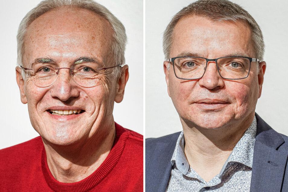 Ulli Schönbach (rechts) ist neuer Geschäftsführer des Bautzener Regionalverlags der Sächsischen Zeitung. Sein Vorgänger Ralf Haferkorn ist zum 31. März in den Ruhestand gewechselt.