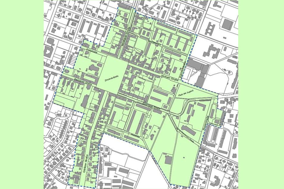 """Die grüne """"Neue Mitte Niesky"""" ist zugleich das Fördergebiet für den Verfügungsfonds der Stadt."""