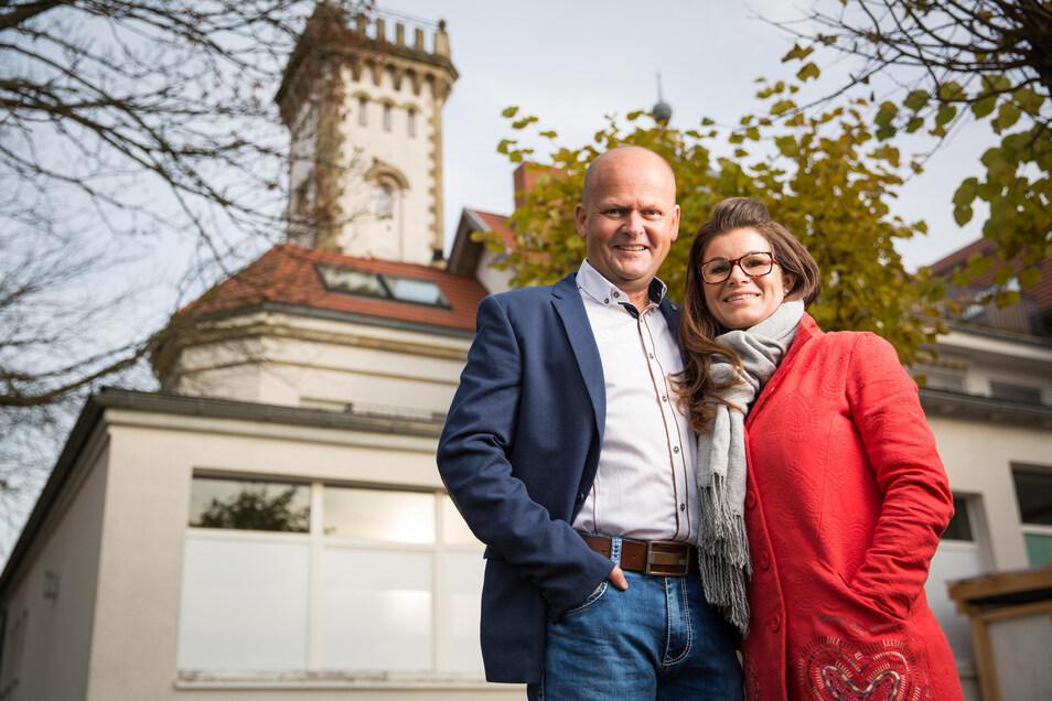 Die Restaurantbetreiber im Luisenhof Dresden , Carsten Rühle und seine Frau Carolin Rühle-Marten.