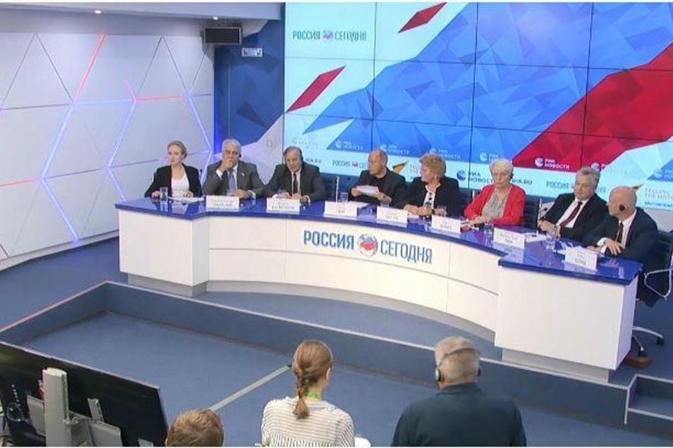 """Die Pressekonferenz der deutschen Abgeordneten bei """"Rossija Segodnja"""" in Moskau"""