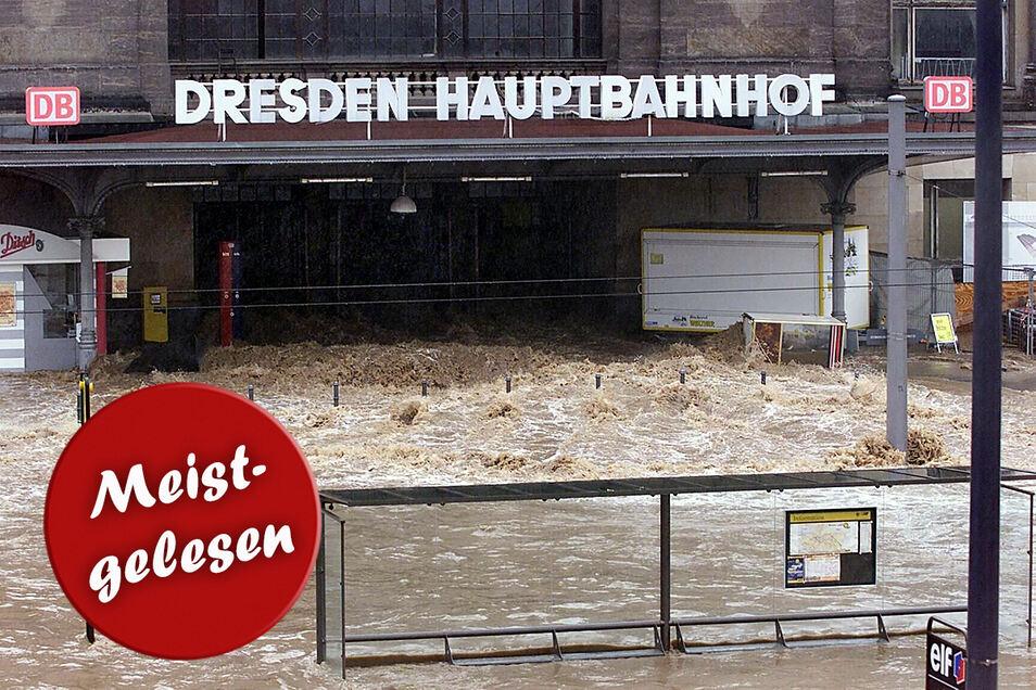 Am 13. August 2002 erreicht die Flut Dresden. Die Weißeritz überflutet Teile von Löbtau und Friedrichstadt und rauscht durch den Hauptbahnhof ins Zentrum.