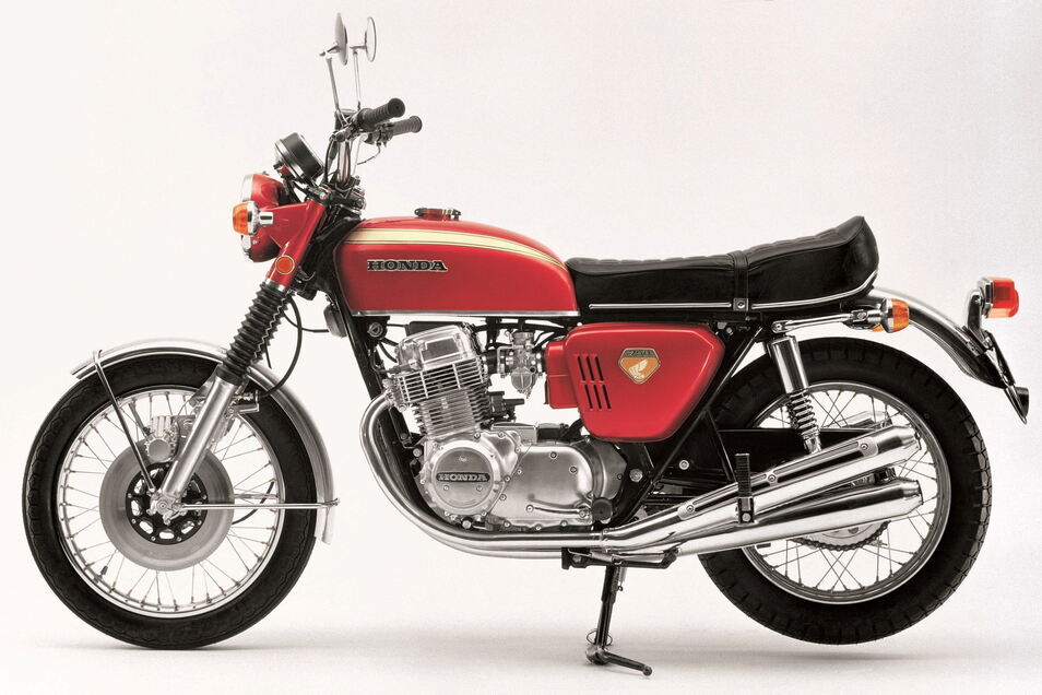 Die Honda CB 750 Four gilt als erstes Großserienmotorrad mit Vierzylinder-Reihenmotor.
