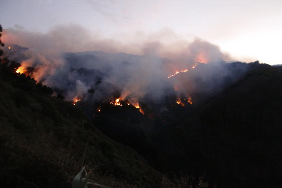 Der Brand war am Samstagabend nahe des Ortes Valleseco ausgebrochen und hatte sich schnell ausgebreitet.