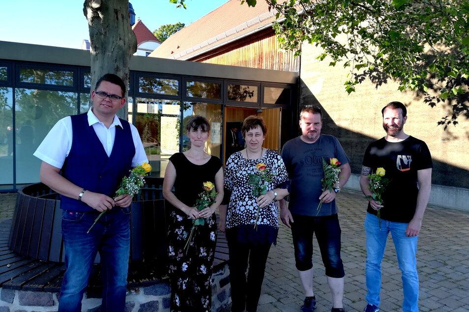 Das ist der neue Vorstand des Schulvereins Peter Apian Leisnig: Jörn Hänsel, Nicole Hirsch, Angela Bilski, Roy Fischer, Olaf Hanemann (von links).