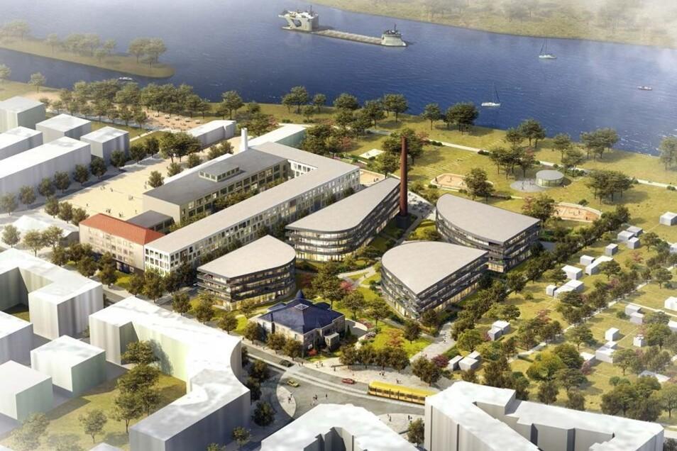 So sah das Bauvorhaben von Marina Garden an der Elbe aus.