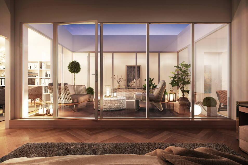 So werden die Wohnungen im Dachgeschoss des ausgebauten Palatiums am Palaisplatz aussehen. Jede von ihnen erhält einen Innenhof mit eigener Terrasse. Durch große Glasfronten fällt viel Licht.
