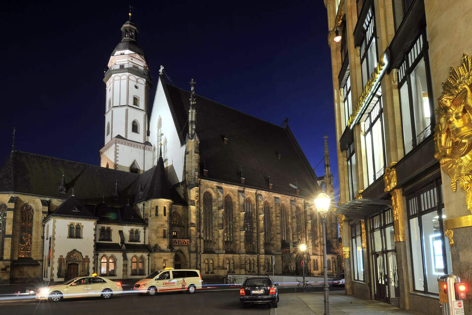Blick auf die Thomaskirche in Leipzig.