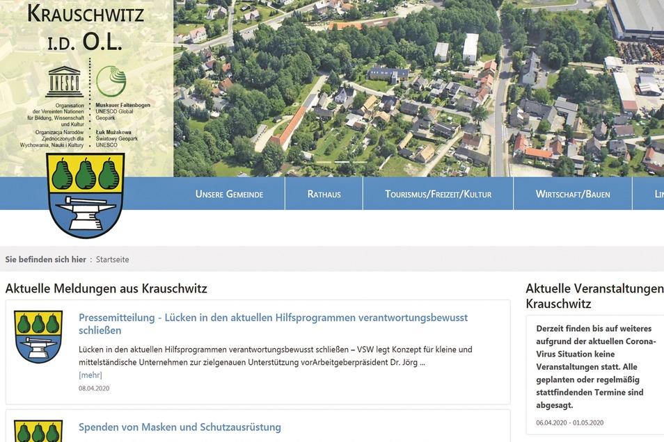 So präsentiert sich die neue Homepage von Krauschwitz. Auf den ersten Blick erkennen Nutzer, dass kaum noch etwas übrig blieb von der einst angestaubten Gestaltung.