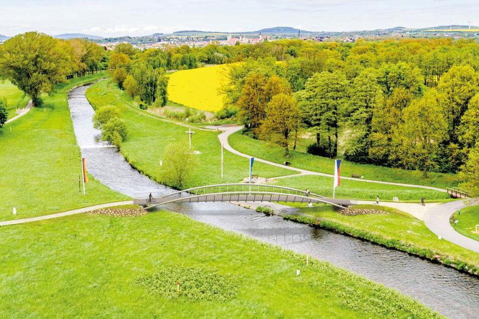Das ist einer der Entwürfe für die Brücke am Dreiländereck bei Zittau.