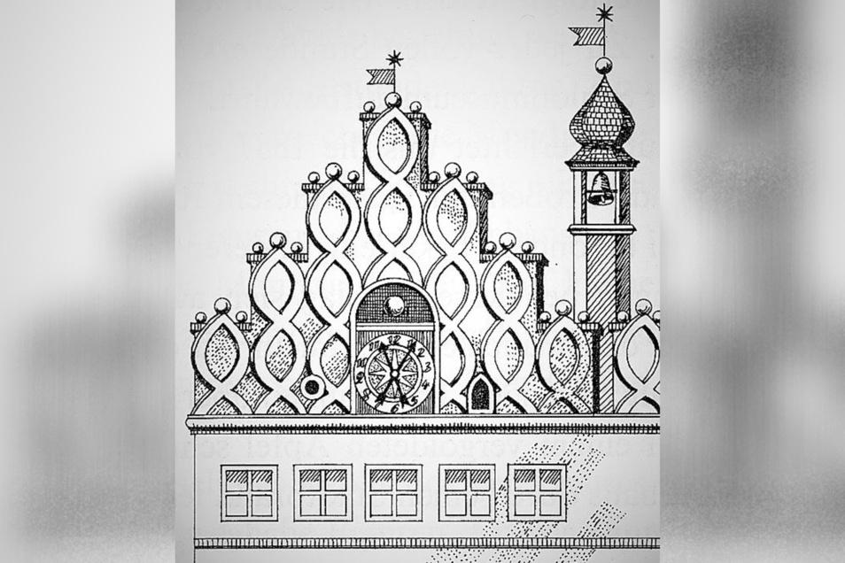 Die Uhr von 1611 mit ihren zwei Zeigern am linken Rathausgiebel.
