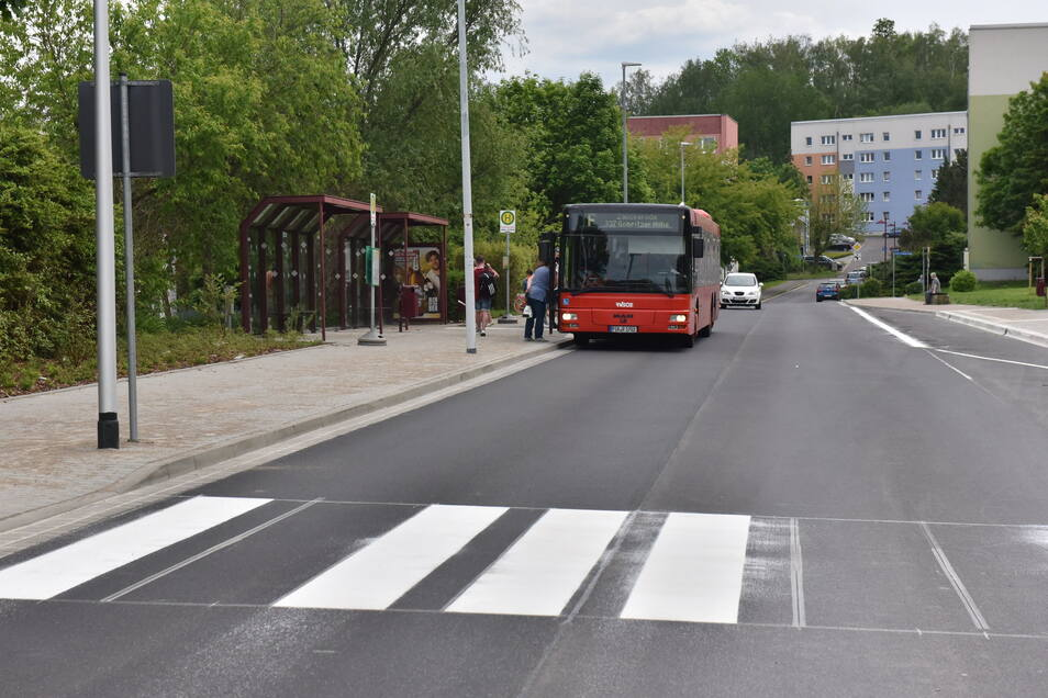 Bequemes Einsteigen in Zauckerode: Die Haltestellen wurden umgebaut.