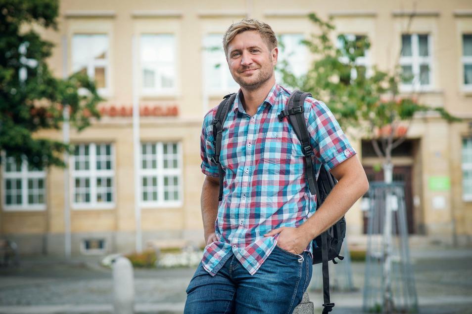 Norbert Eckstein aus dem Raum Nürnberg vor dem Haus der Sorben in Bautzen. Von der Stadt und ihren Einwohnern schwärmt er in den höchsten Tönen und will unbedingt wiederkommen.